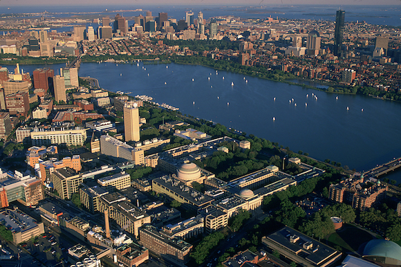 Birds-eye view of MIT, the river Charles, and Boston